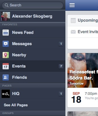 Left fly out menu Facebook.