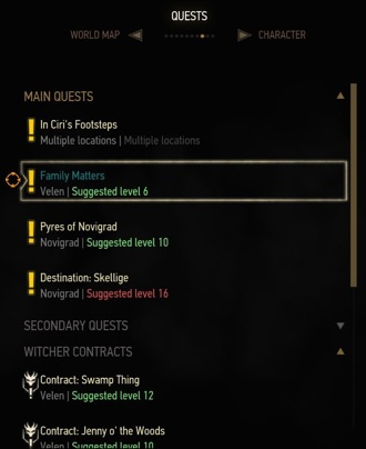 Recommened level for quests in Witcher 3