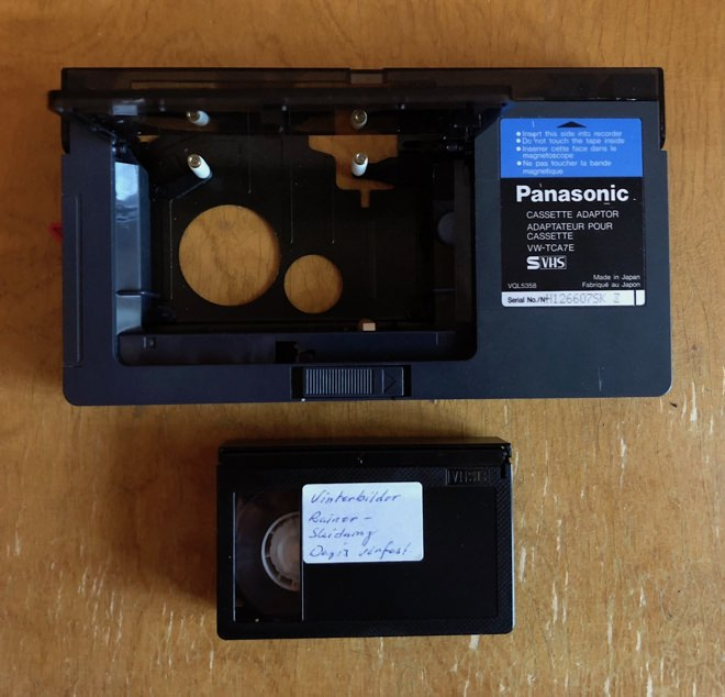 VHS-C adapter and cassette.