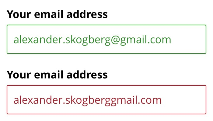 Input fields for email address input.