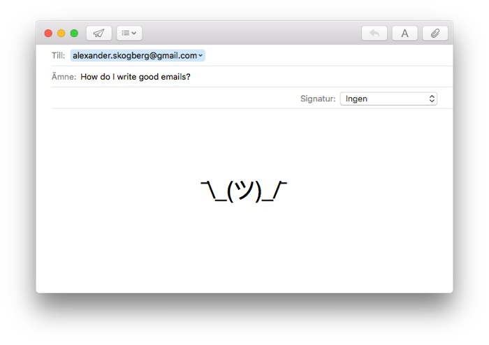 Screen for entering a new email in Apple Mail