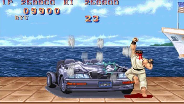 Smashing a car in Street Fighter II