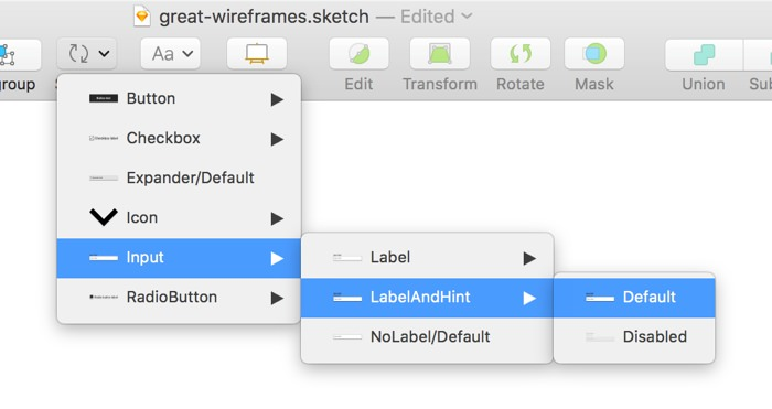Choosing a Symbol in Sketch