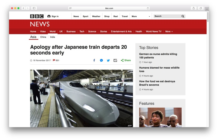News article about train leaving early