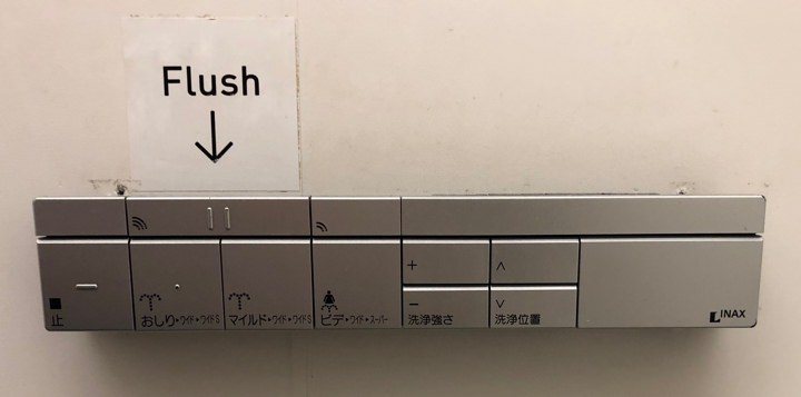 Toilet interface with clearly marked flush button