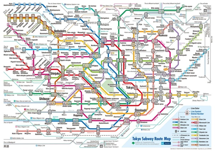 Map of the Tokyo subway