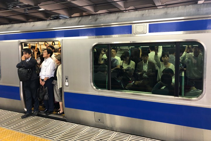 Packed subway car in Tokyo.