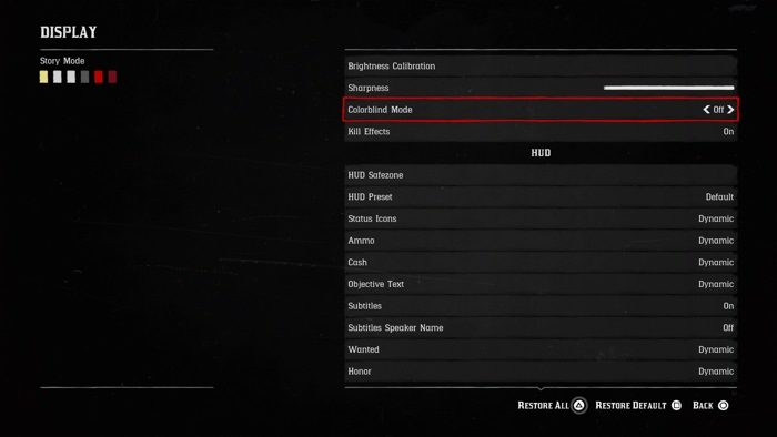 Color blindness setup in Red Dead Redemption 2