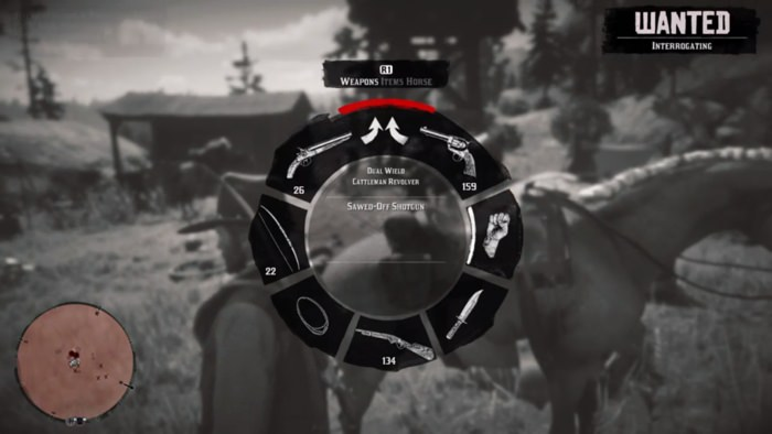 Using the in-game wheel menu to equip weapons.