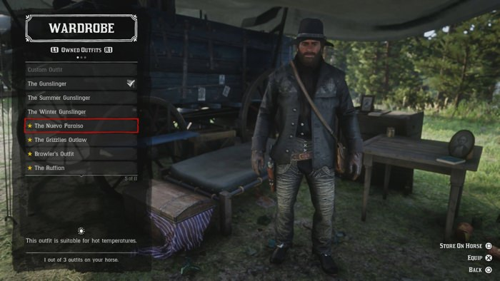 Picking out outfits for Arthur to wear using the game's wardrobe.