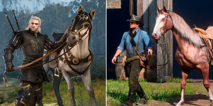 Geralt of Witcher 3 and Arthur of Red Dead Redemption 2 with their horses