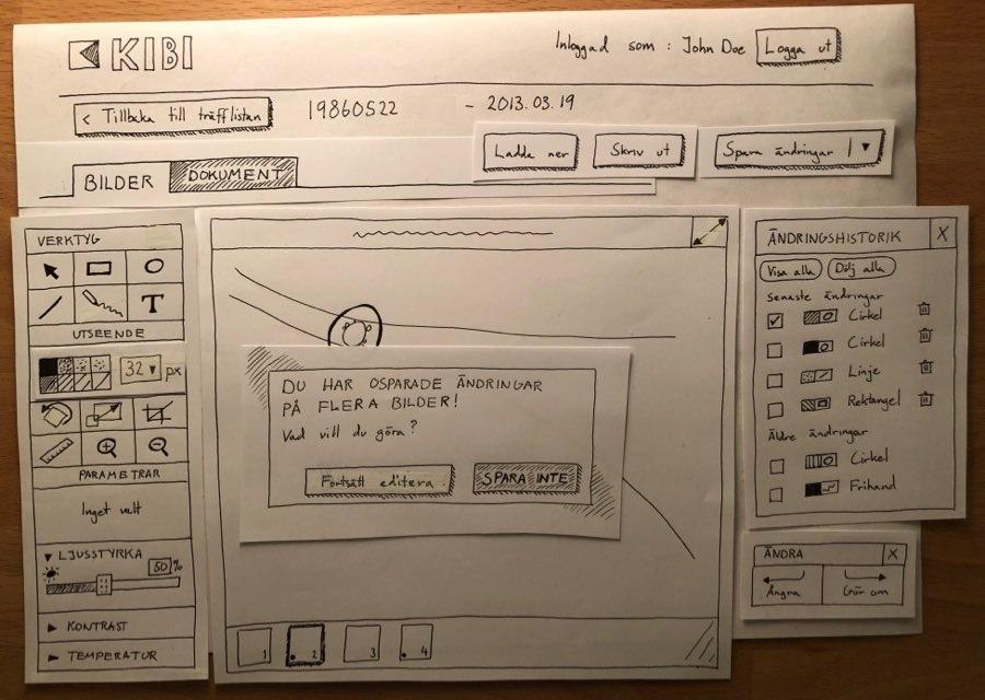 Paper wireframe of KIBI media