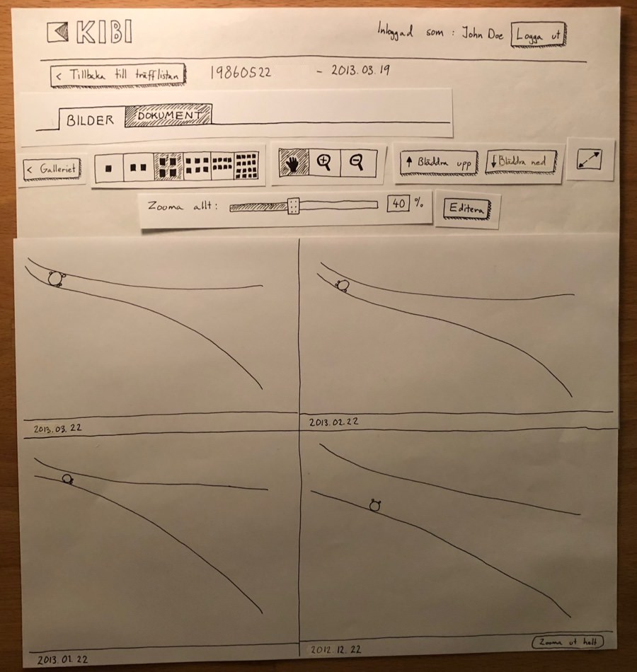 Another paper wireframe of KIBI Media