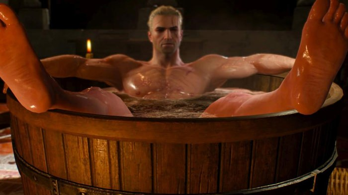The Wither 3 protagonist Geralt of Rivia relaxing in a bathtub.