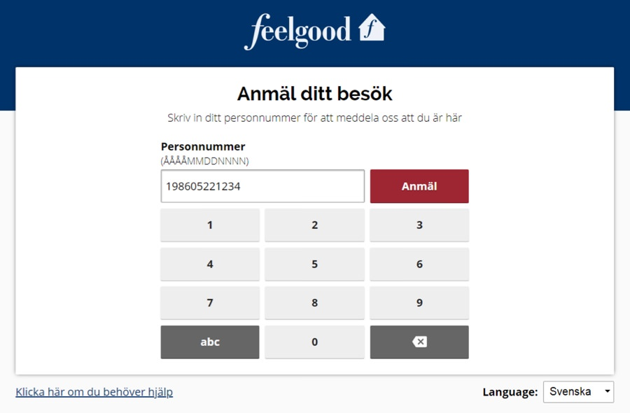 Screenshot of the Feelgood Visitor Registration using the previous graphic guidelines.